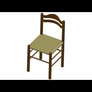 Chaise en bois, assise en paille - bim