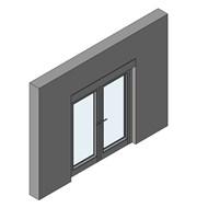 Porte fenêtre à l'anglaise CS104, double ouvrant, double imposte - bim