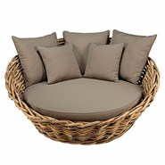 St Tropez Round Garden Sofa in Rattan and Taupe Cushions - bim