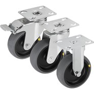 Swivel and fixed castors, steel plate, electrically conductive, heavy-duty version - bim