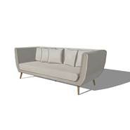 3 seater fabric sofa in light grey - bim