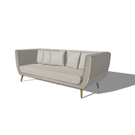 3 seater fabric sofa in light grey - bim