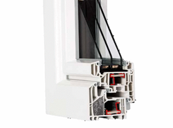 HX9P with PVC insulated chamber (passive system certificate) 2 swings and sash overlaps 1800x1300 - bim