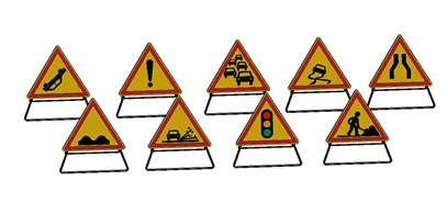 Road working site sign - bim