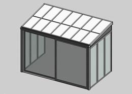 Solar greenhouse with sliding door panel blind 2.5m - bim