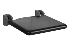 Lift-up shower seat, padded seat colour black, 410 x 410 mm - bim
