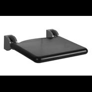 Lift-up shower seat, padded seat colour black, 410 x 410 mm - bim