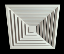 DSQ (Four–Way square anodised diffusers) - bim